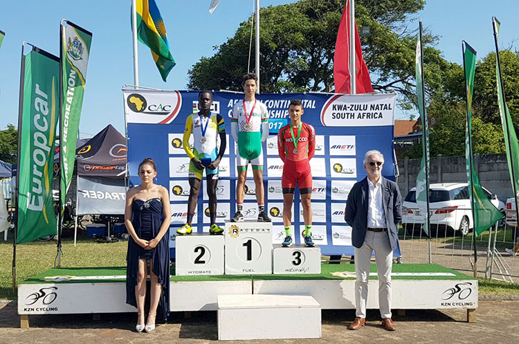 Eric Habimana was awarded of his silver medal by the UCI President, Bryan Cookson (right)